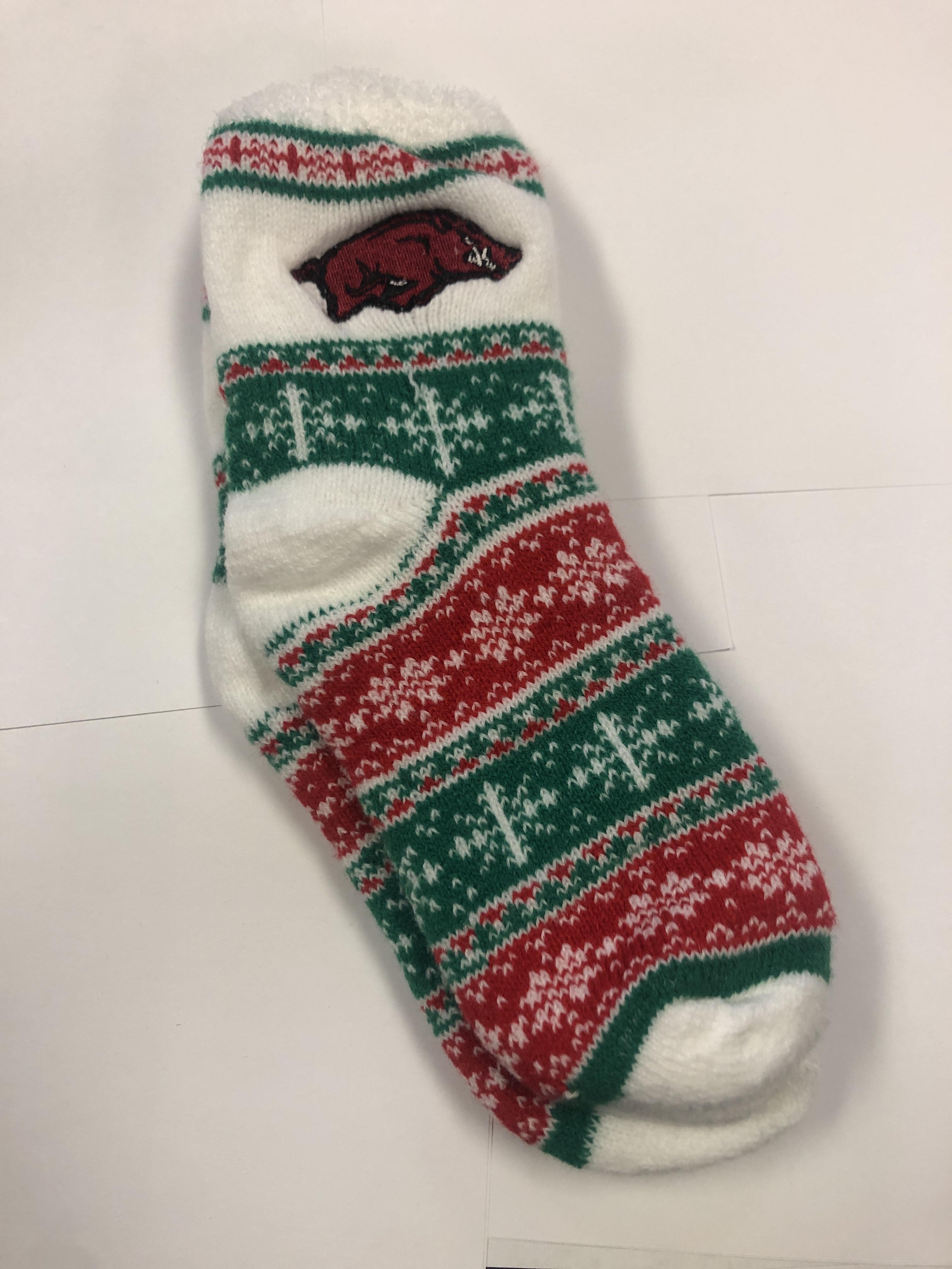 Arkansas Fuzzy Holiday Socks