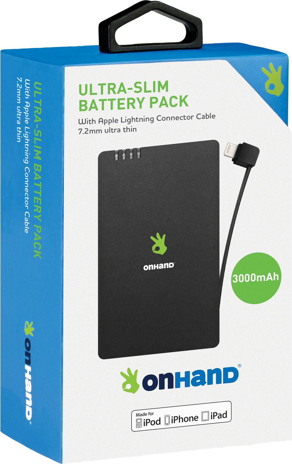 OnHand Ultra-Slim Battery Pack - Black 3000mAh BP