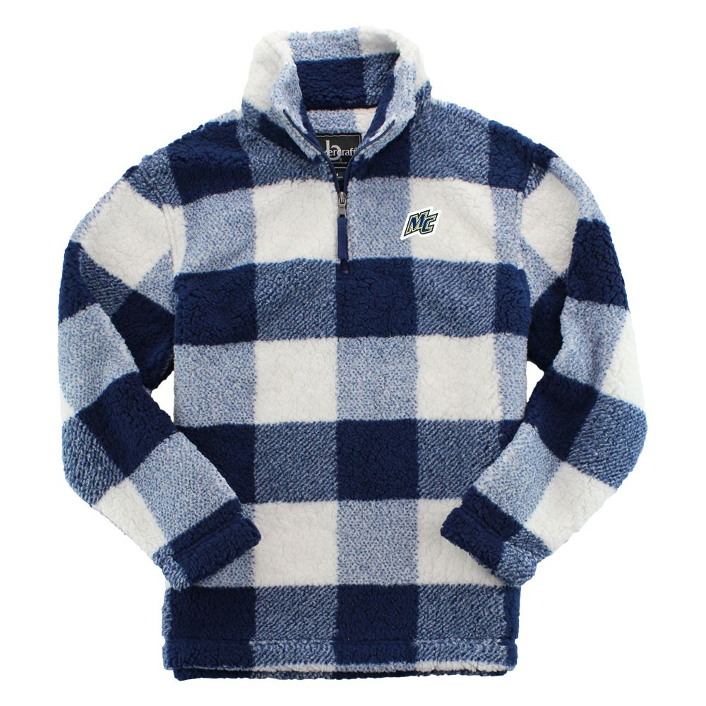 MC Blue Plaid Sherpa 1/4 Zip Pullover