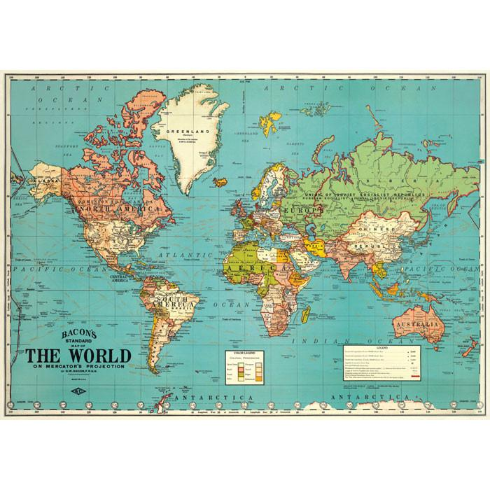 Decorative Map of the World Poster