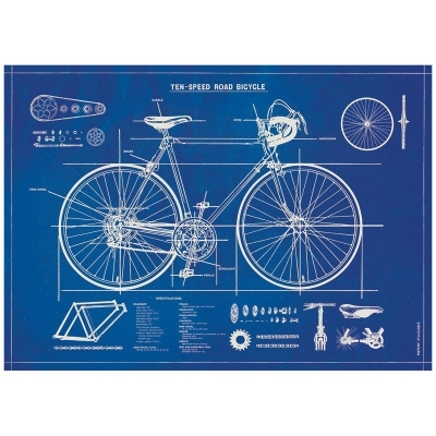 Decorative Bicycle Blueprint Poster
