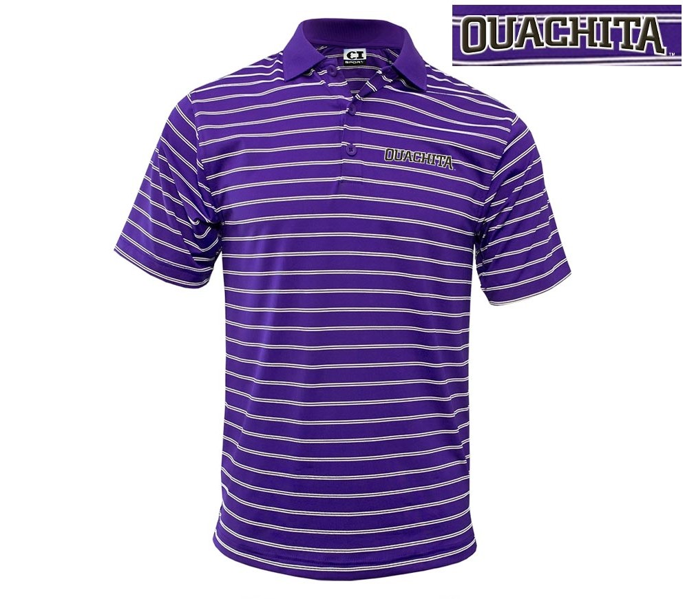 OUACHITA WORDMARK WIDE STRIPE POLO