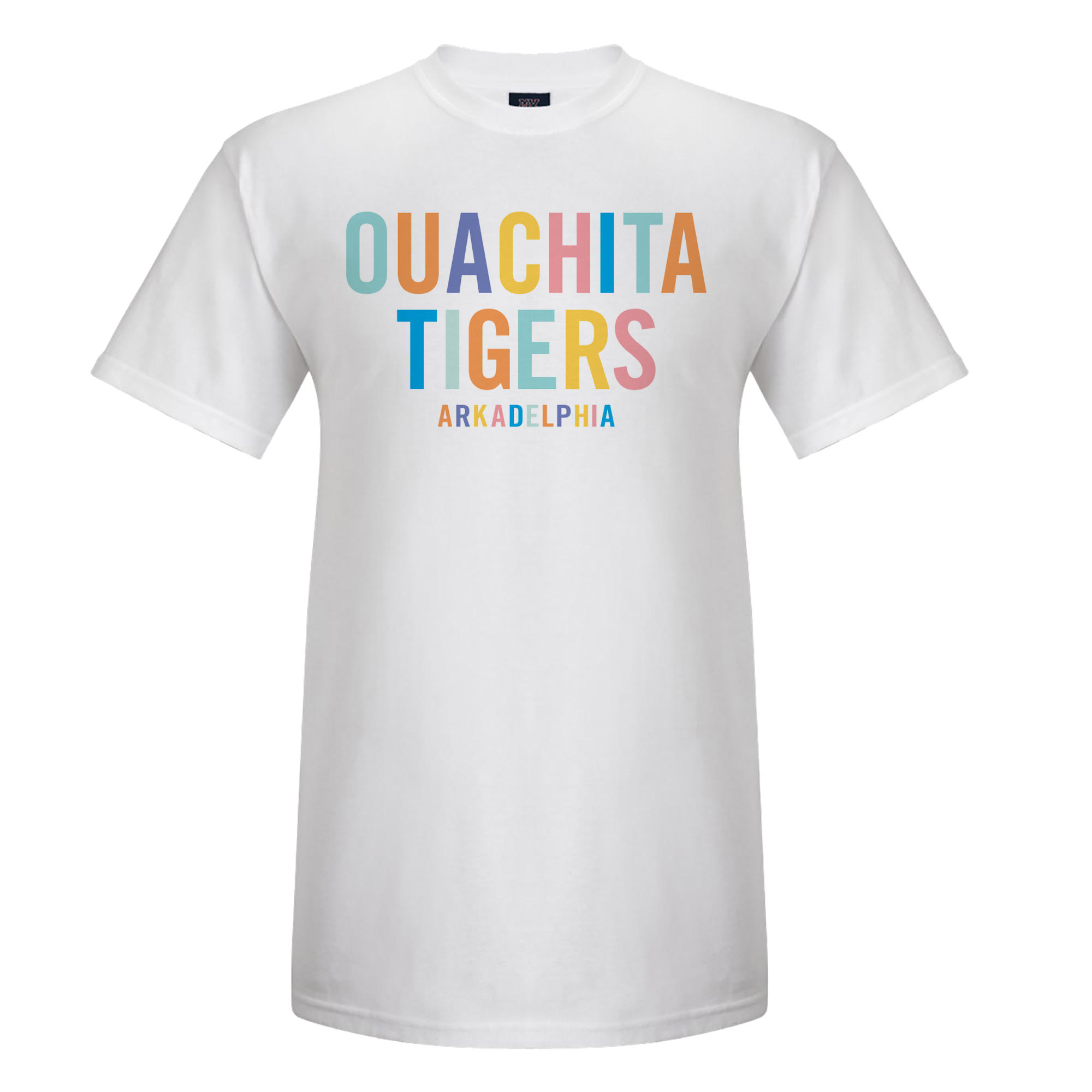 OUACHITA TIGERS RAINBOW LETTER TEE