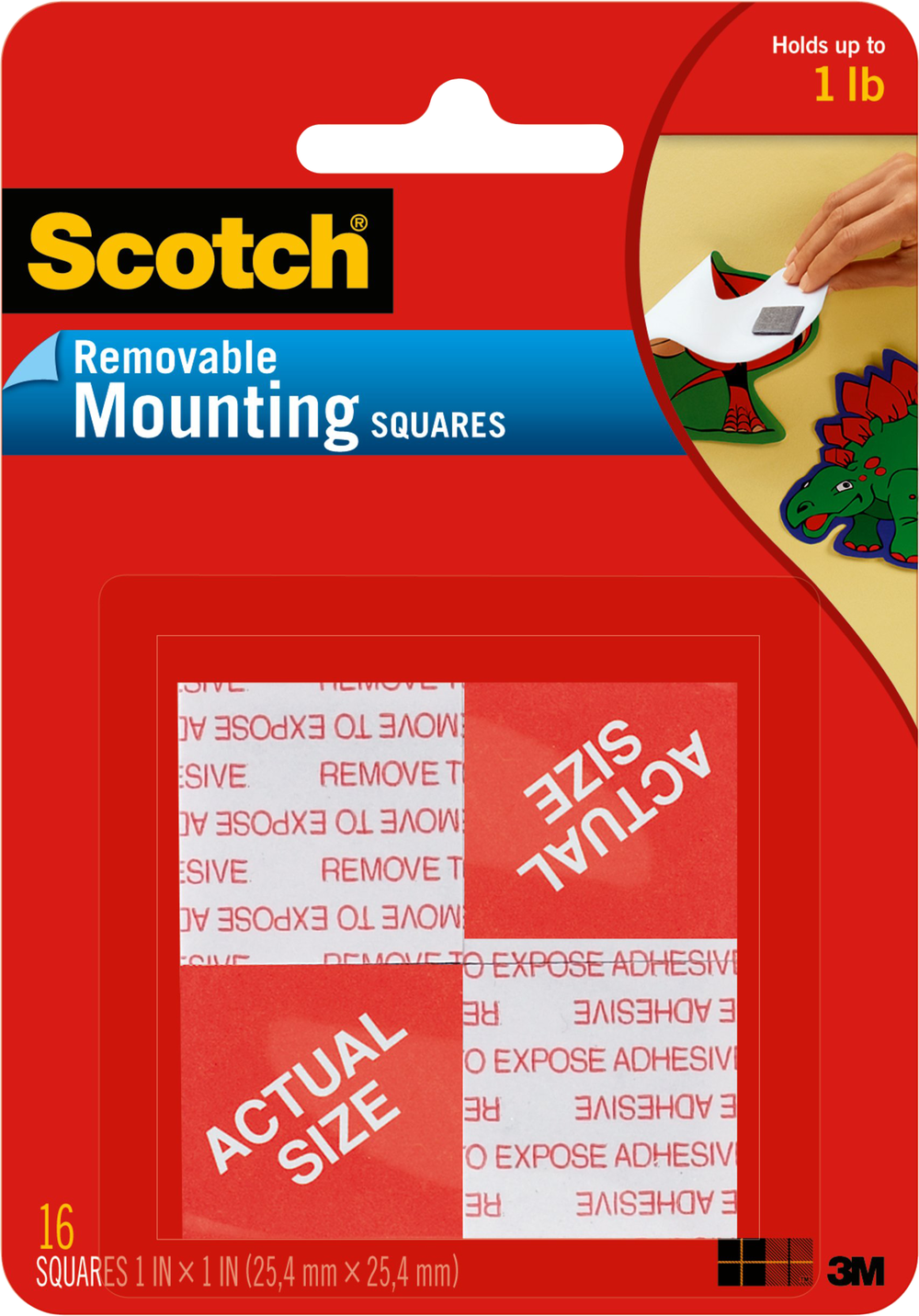 Scotch Removable Mounting Squares - White 1x1in 16Pk BP