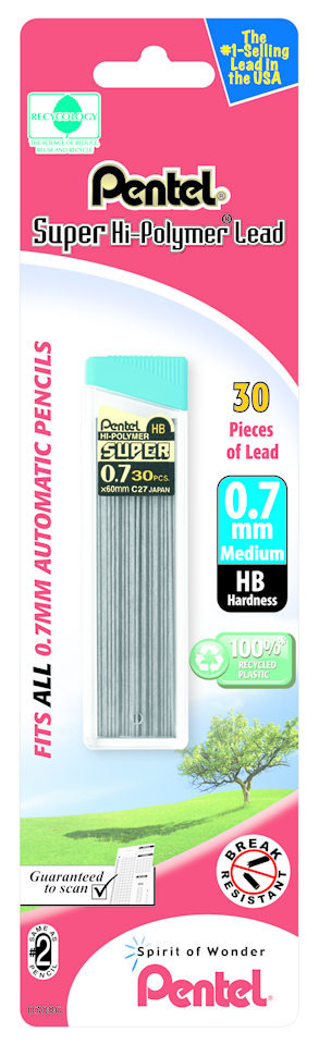 Pentel Super Hi-Polymer Replacement Lead - Gray .7mm-HB 30Ct BP 1Pk
