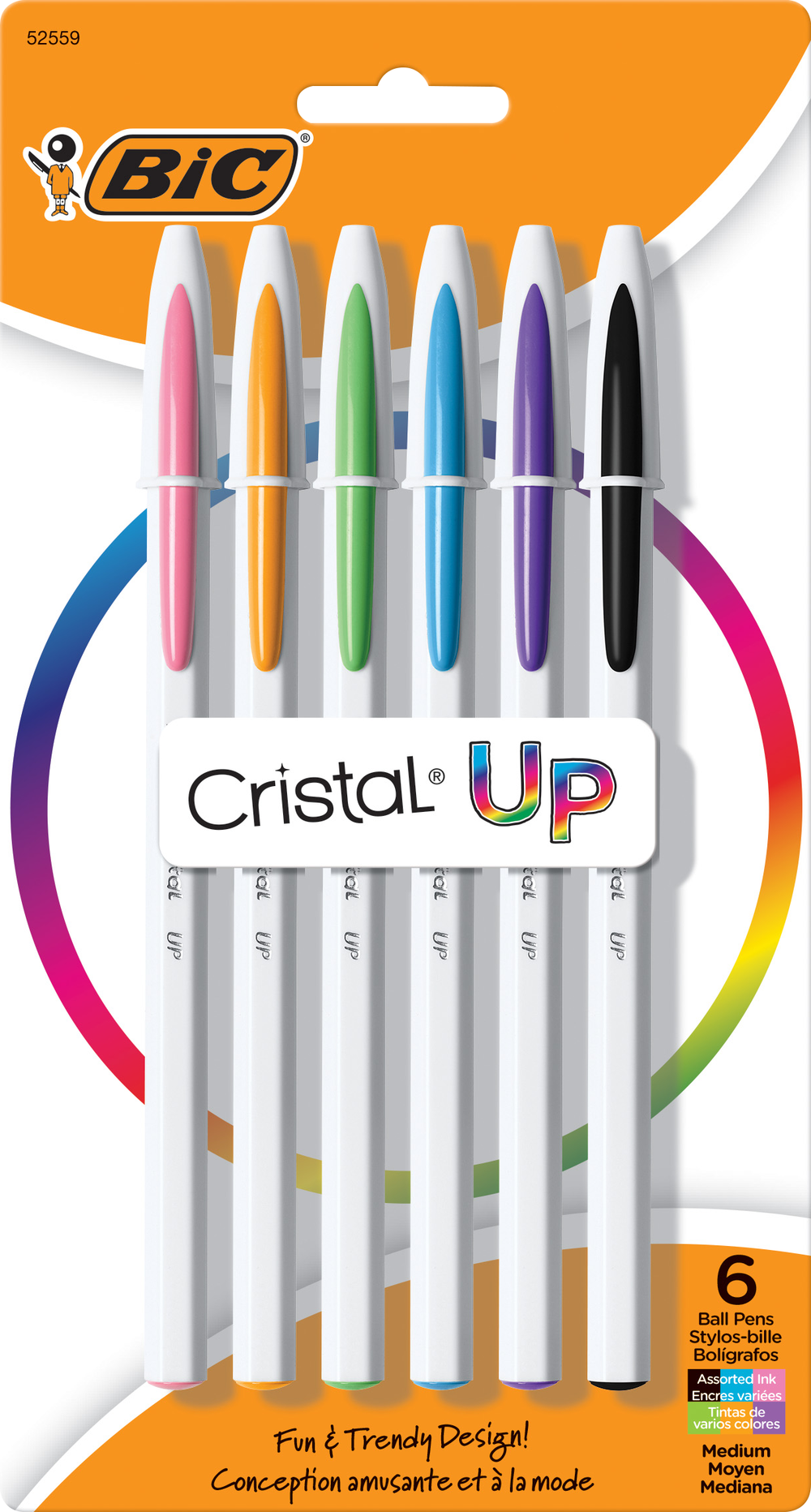 BIC Cristal Up Ballpoint Pen - Asst 1.2mm 6Pk BP