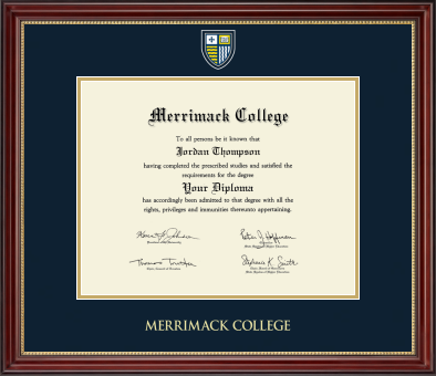 Masterpiece Medallion Diploma Frame in Kensington Gold with Navy & Gold Mats