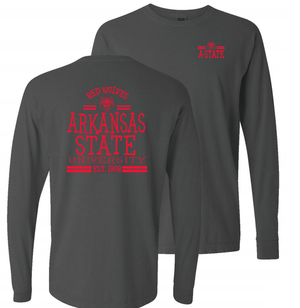 Arkansas State Comfort Colors Long Sleeve Tee