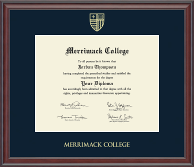 Gold Embossed Diploma Frame in Studio with Navy Mat