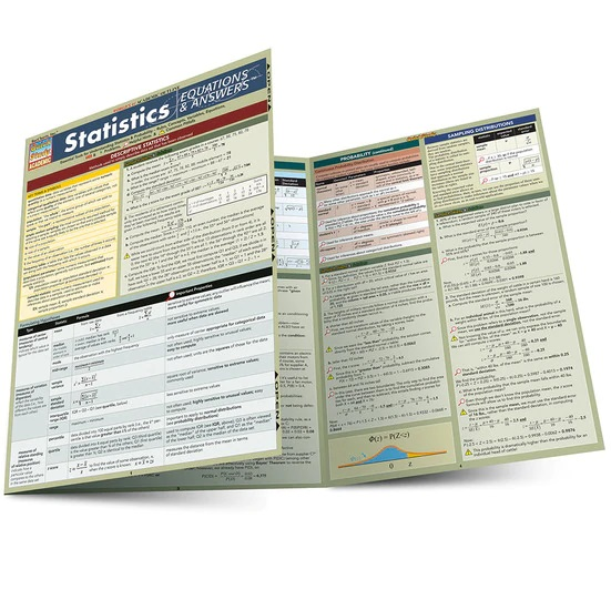 QuickStudy Statistics: Equations & Answers Laminated Study Guide