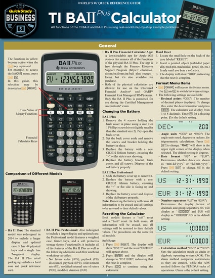QuickStudy | TI BA II Plus Calculator Laminated Reference Guide