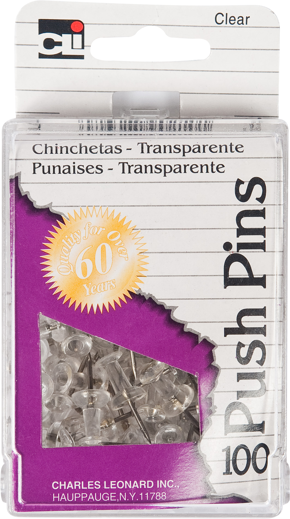 Charles Leonard Push Pins - Clear .44in 100Ct Box Reusable Box