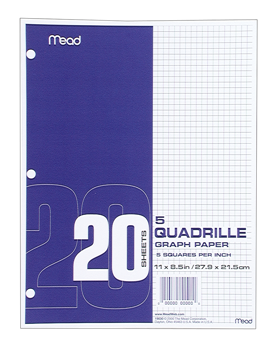 Mead Quadrille Graph Paper - White 11x8.5in 20Sht Bulk 5x5