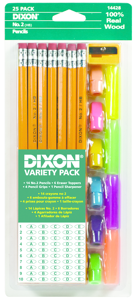 Dixon Economy Woodcase Pencil Variety Pack - Yellow #2 25Pk BP