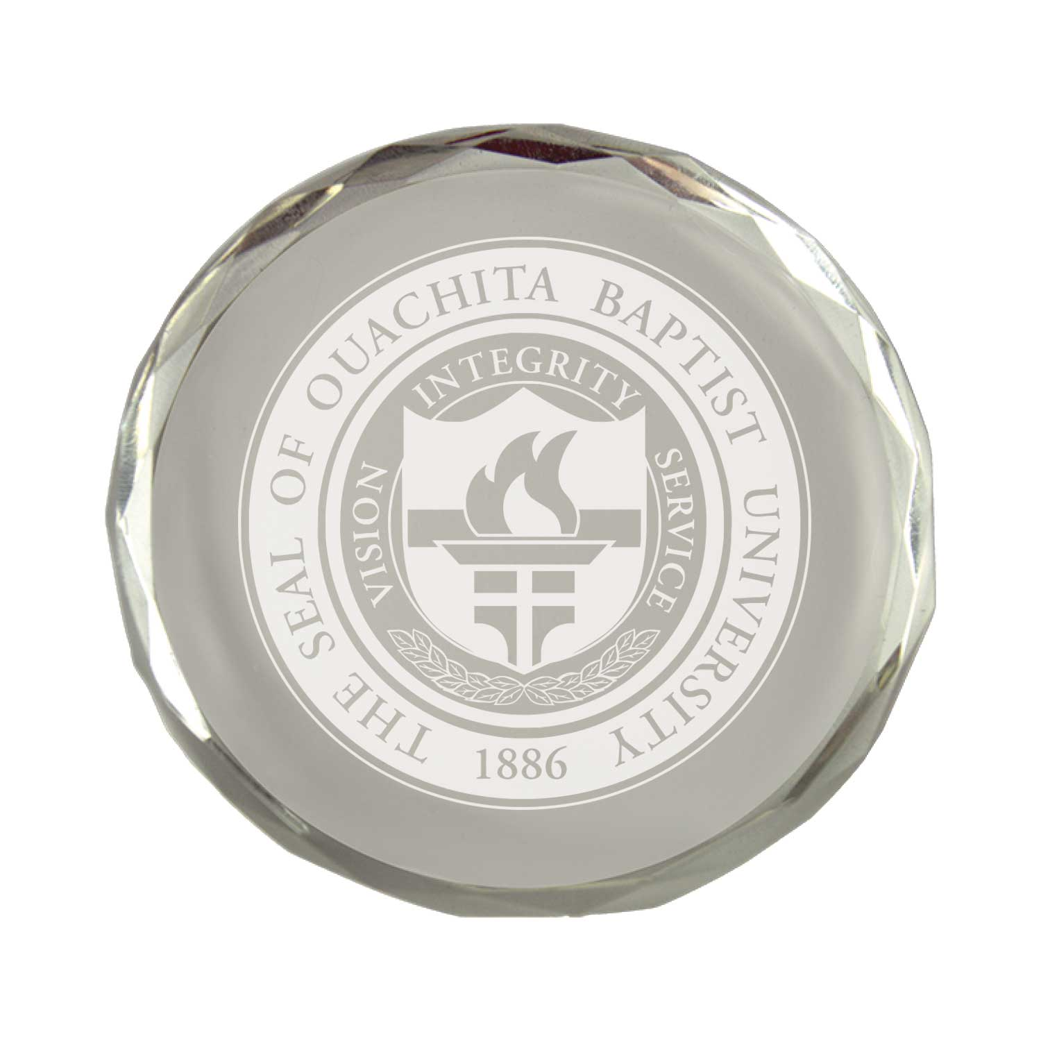 OUACHITA SEAL CRYSTAL PAPER WEIGHT