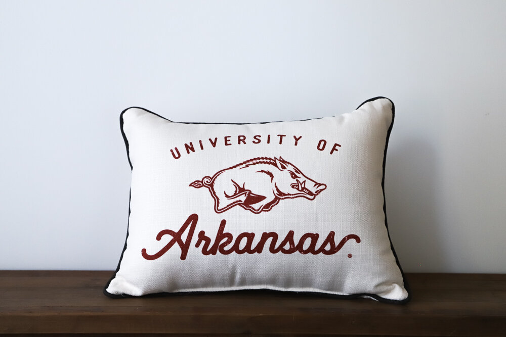 Vintage University of Arkansas Throw Pillow