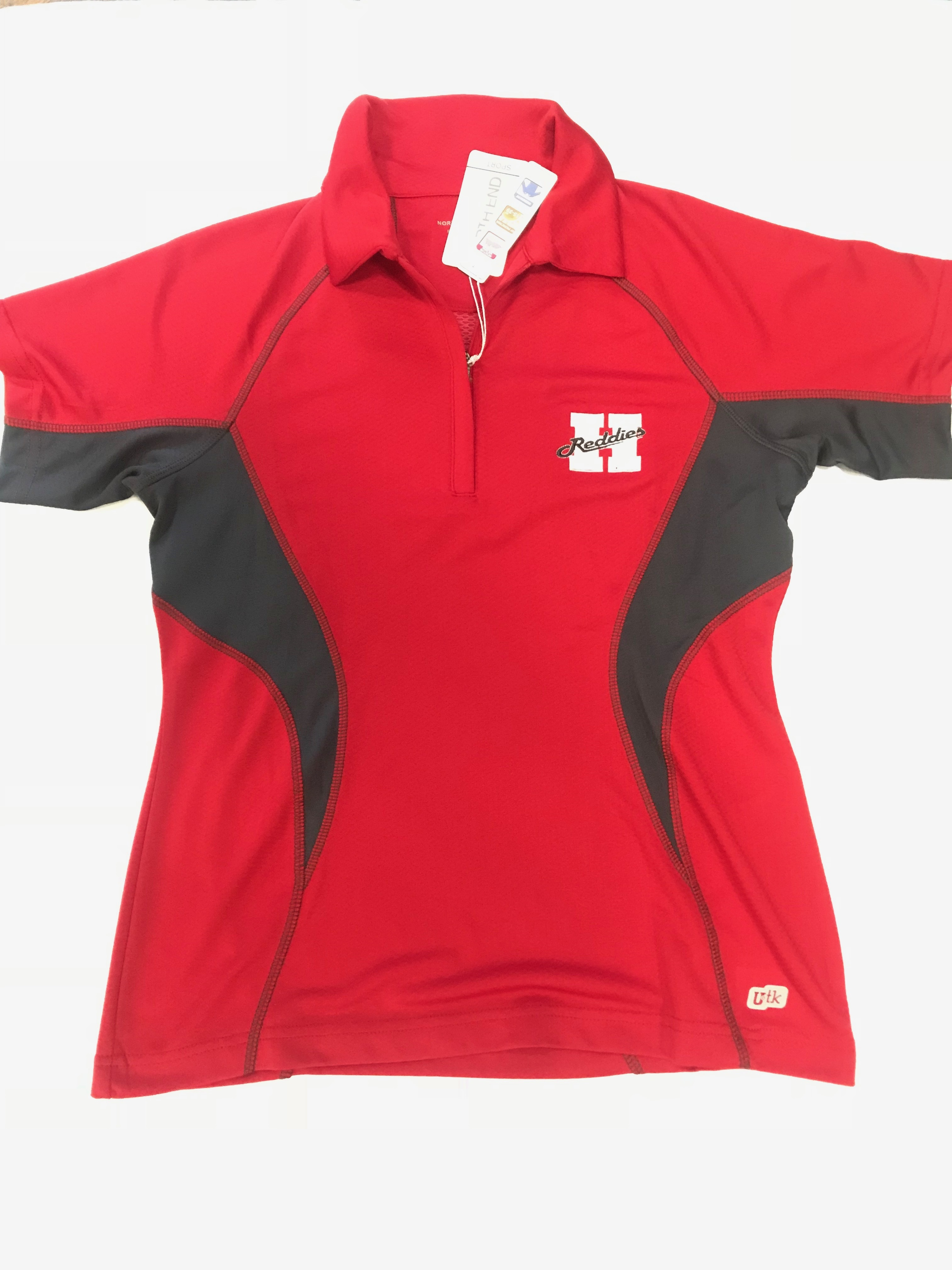 LADIES RED ZIP POLO