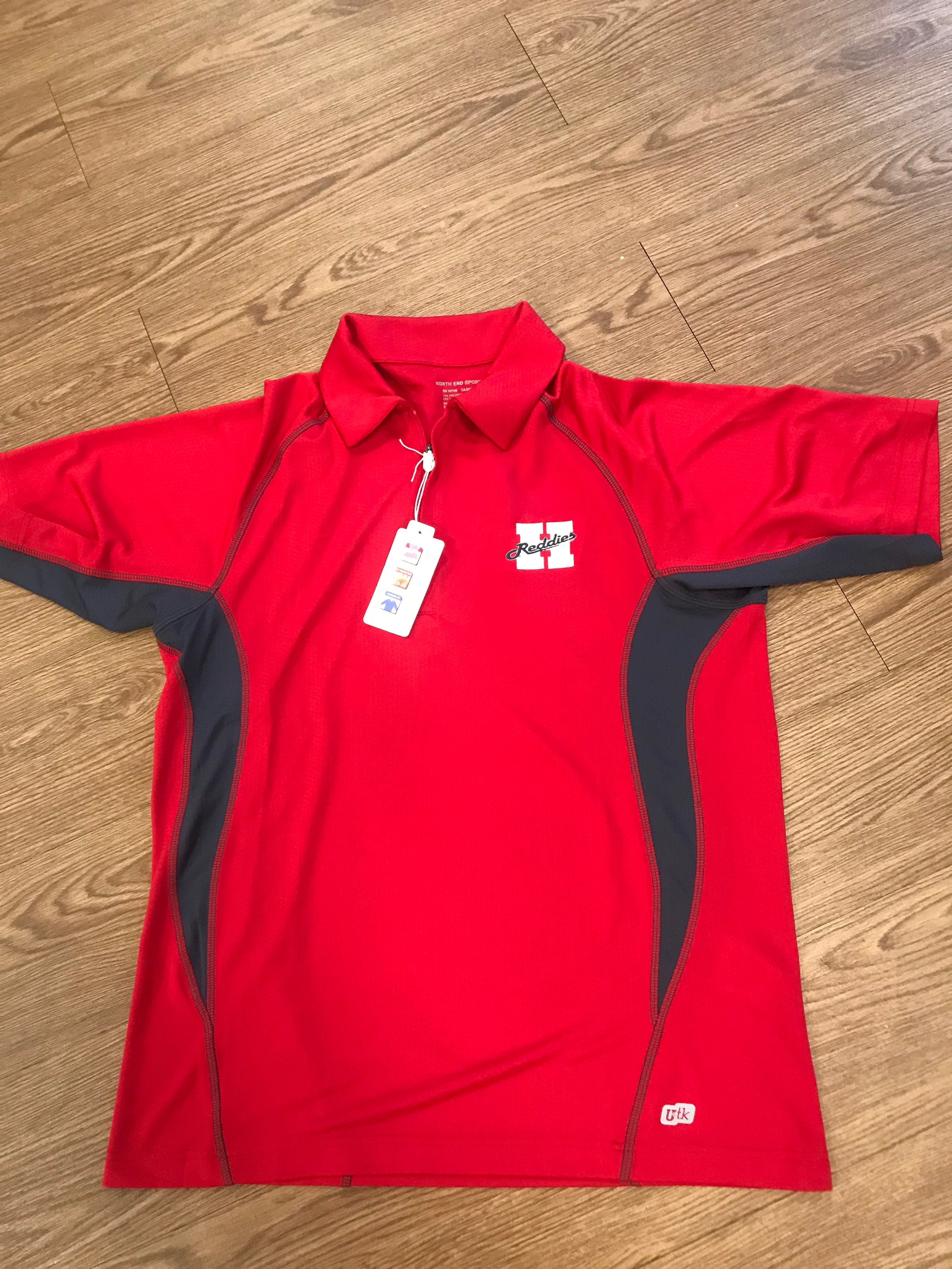 MENS RED ZIP POLO