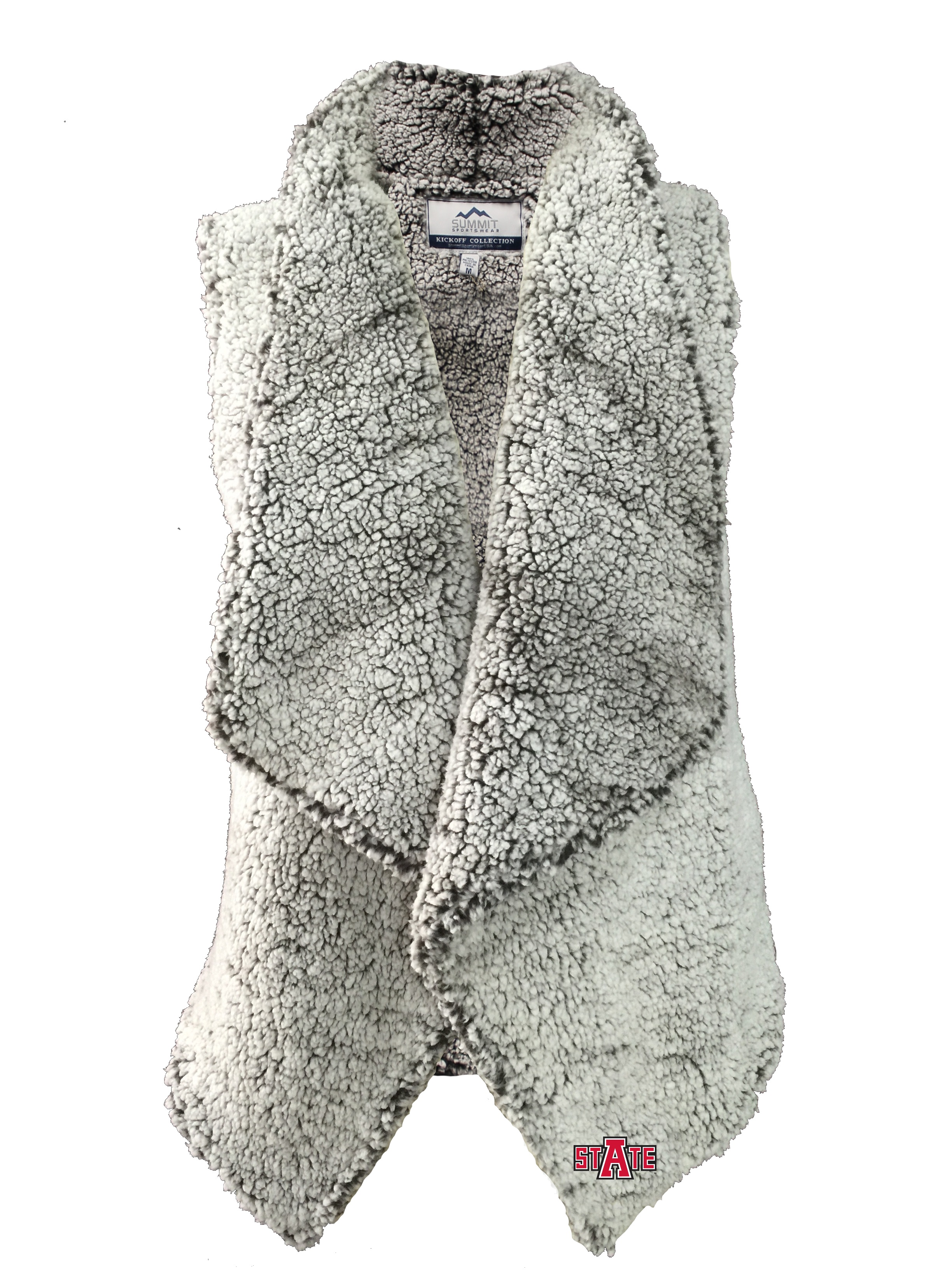 Arkansas State Heathered Sherpa Draped Vest