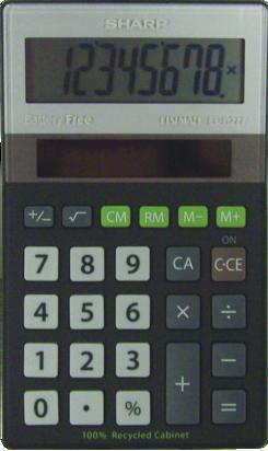 EL-R277BBK Eco-concept Handheld Basic Calculator