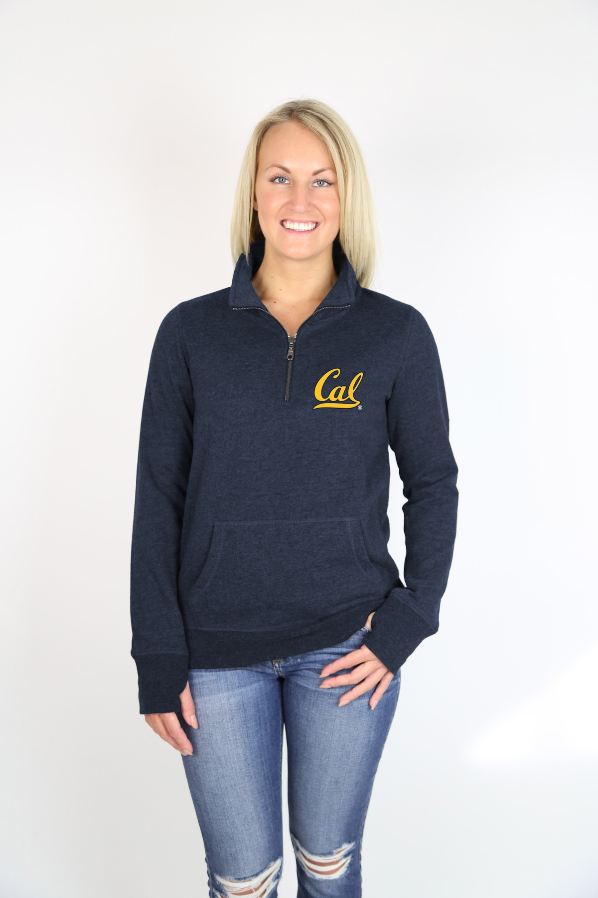 University of California Berkeley Women's 1/4 Zip Mock by Campus Crew