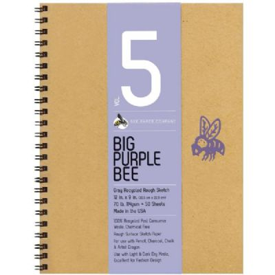 Big Purple Bee Gray Tone Pad 9x12