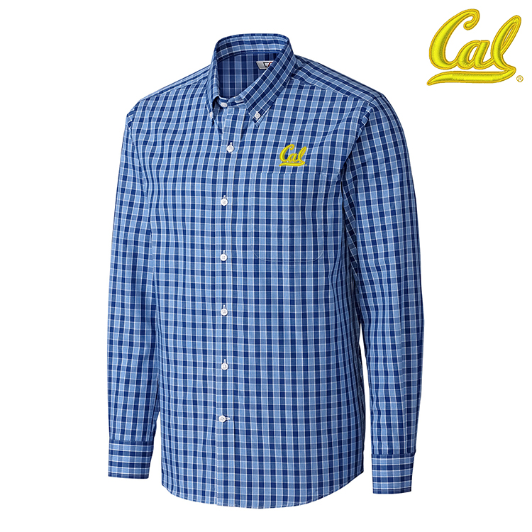 University of California Berkeley Discovery Park Plaid L/S Dress Shirt by Cutter and Buck