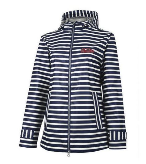 Womens Navy Striped Raincoat