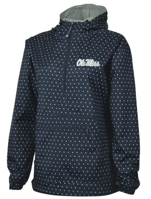 Womens Navy Polka-Dot Rainjacket