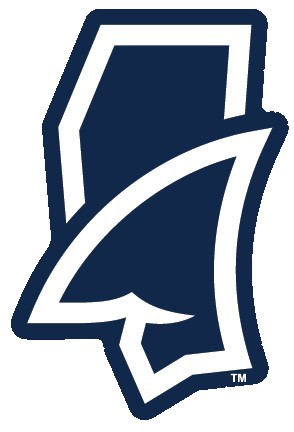 Fins Up State Outline Sticker Navy