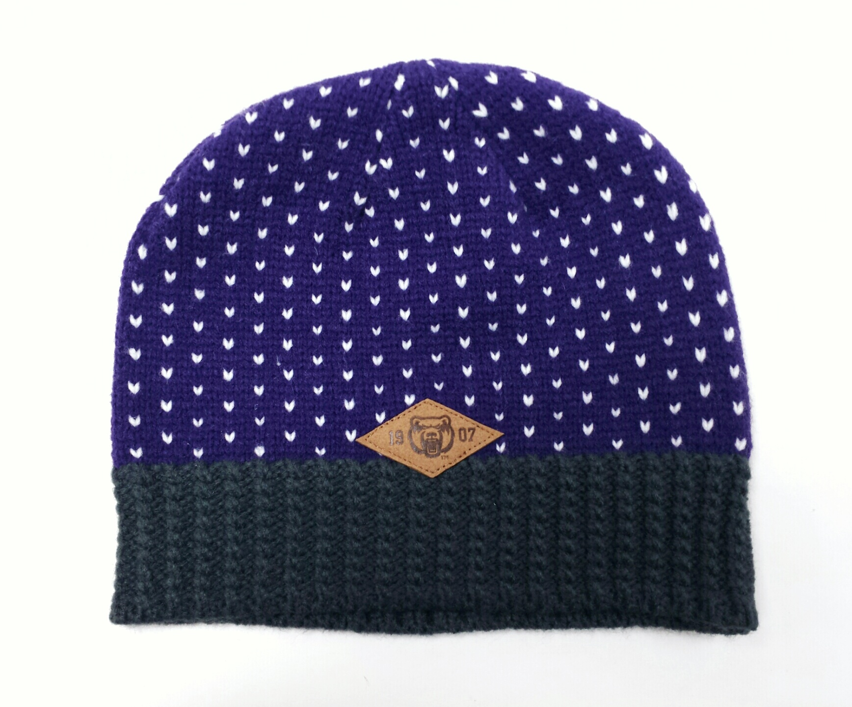 Purple Knit Heart Beanie