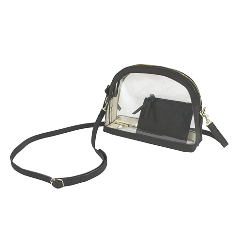 Half Moon Crossbody - Clear PVC with Black Accents
