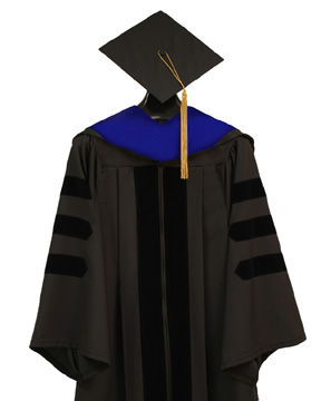 Doctoral Cap, Gown, Tassel and Hood