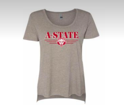 A-State Red Wolves Scoop Neck Drop Hem S/S Tee