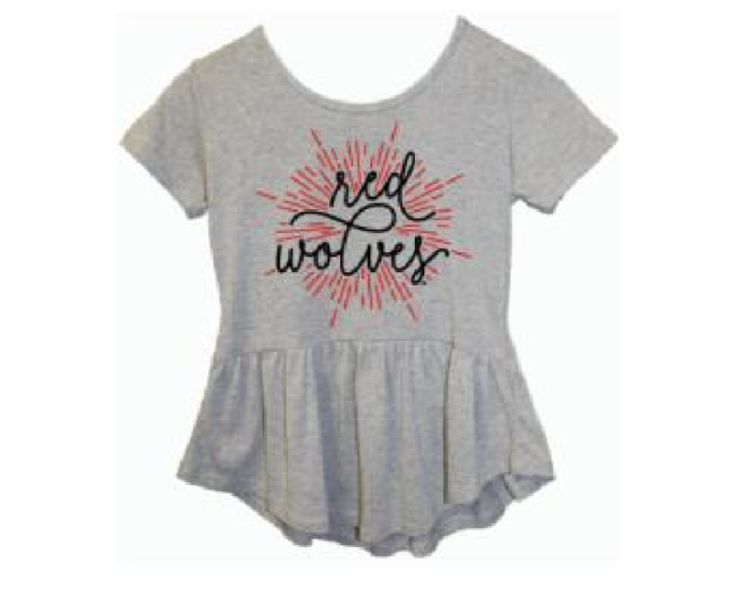 Red Wolves Girls' Peplum S/S Shirt