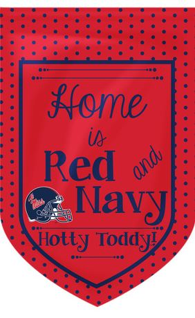 Garden Flag Home Is Red and Navy