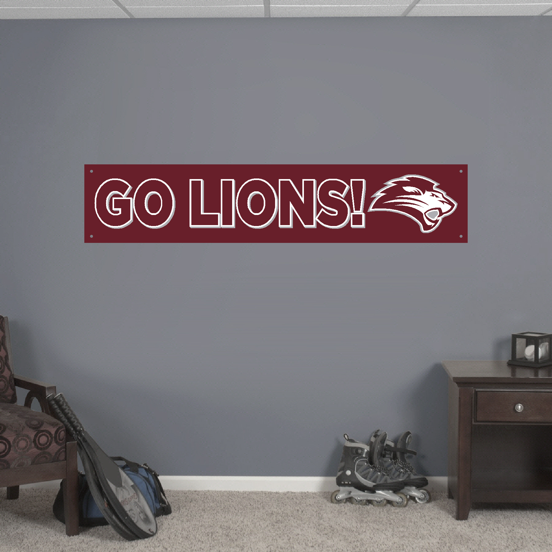 "10""x 38"" FHU GO LIONS! Banner"