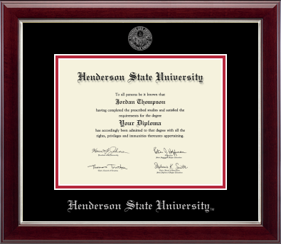 Silver Embossed Black and Red Mat Diploma Frame