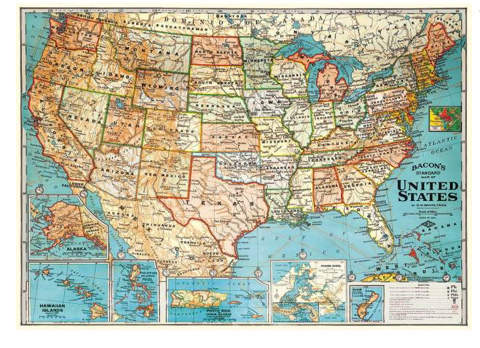 Decorative United States Map Poster/Wrap
