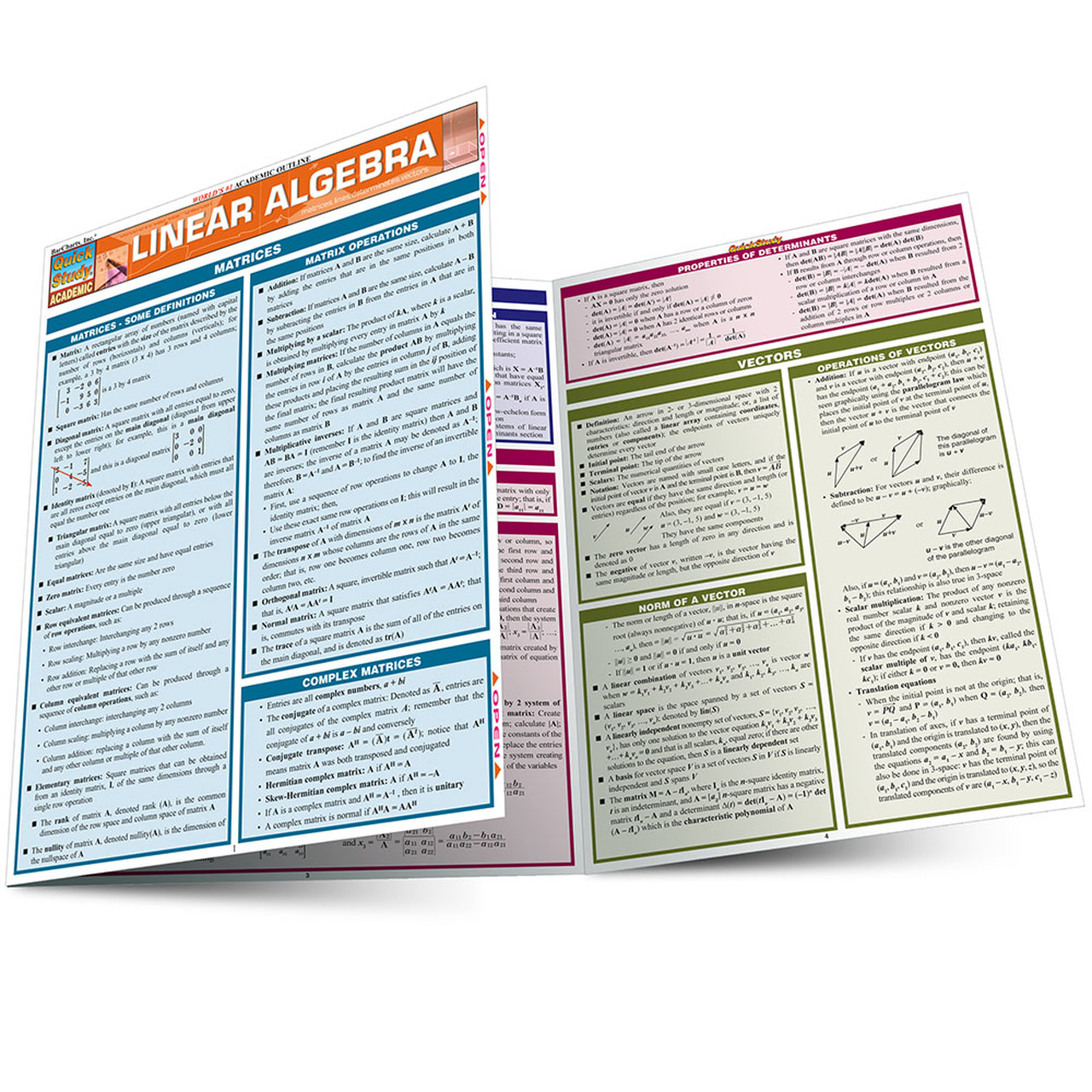 QuickStudy Linear Algebra Laminated Study Guide