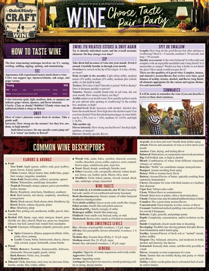 QuickStudy | Wine: Choose, Taste, Pair & Party Laminated Reference Guide