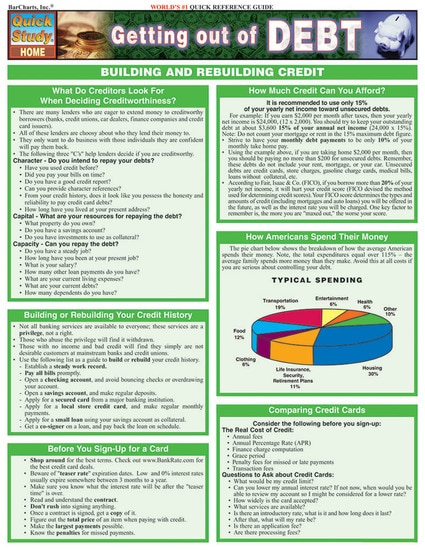 QuickStudy Getting Out Of Debt Laminated Reference Guide