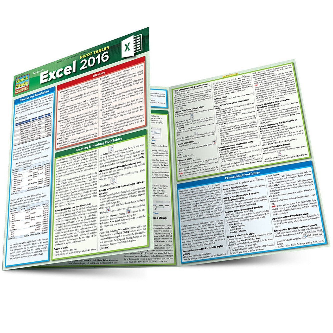 QuickStudy MS Excel 2016: Pivot Tables Laminated Reference Guide