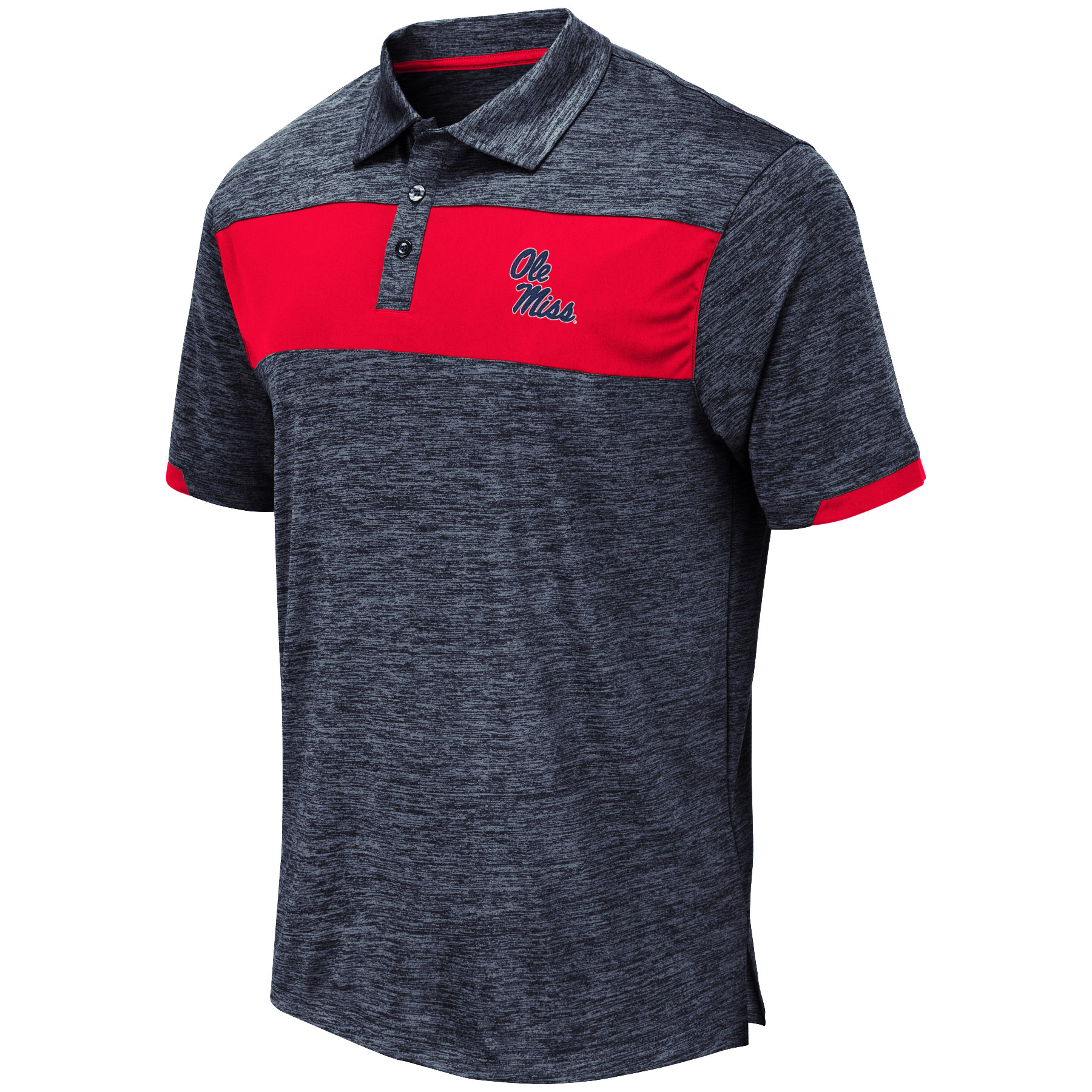 Nelson Polo Navy Heather Red Chest Stripe
