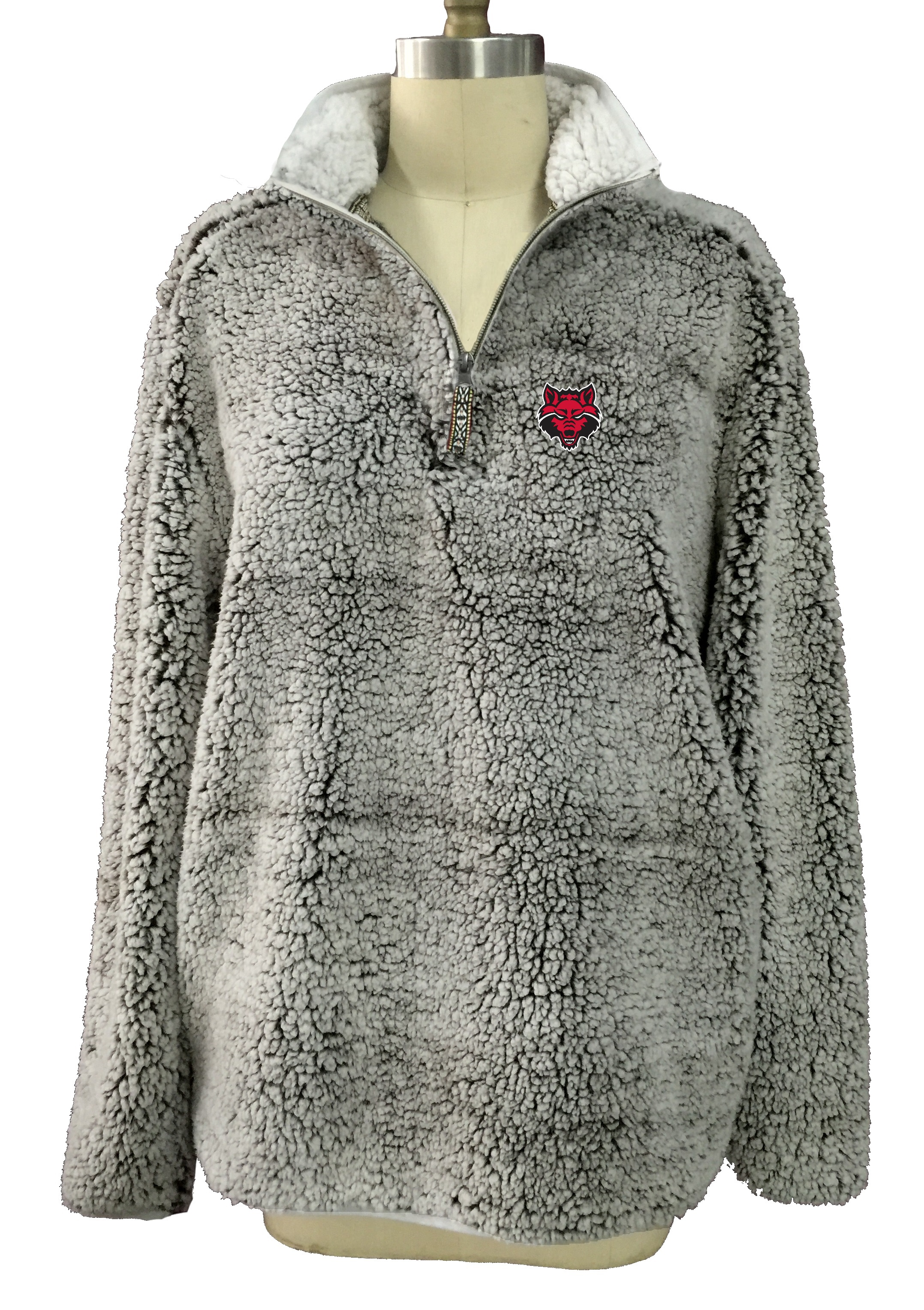 Arkansas State Heathered Sherpa 1/4 Zip Pull Over