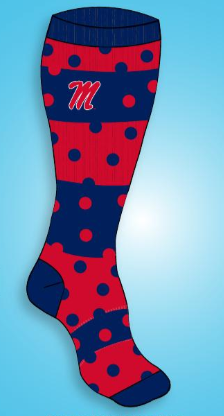 Dotted Line 1/2 Cushion Red/Navy Knee High Socks