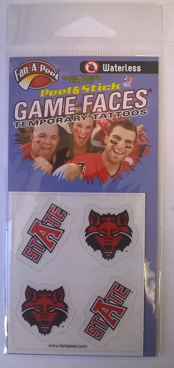 Red Wolves Face Tattoo 4-Pack
