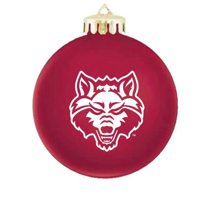 Red Wolves Round Shatterproof Christmas Ornament