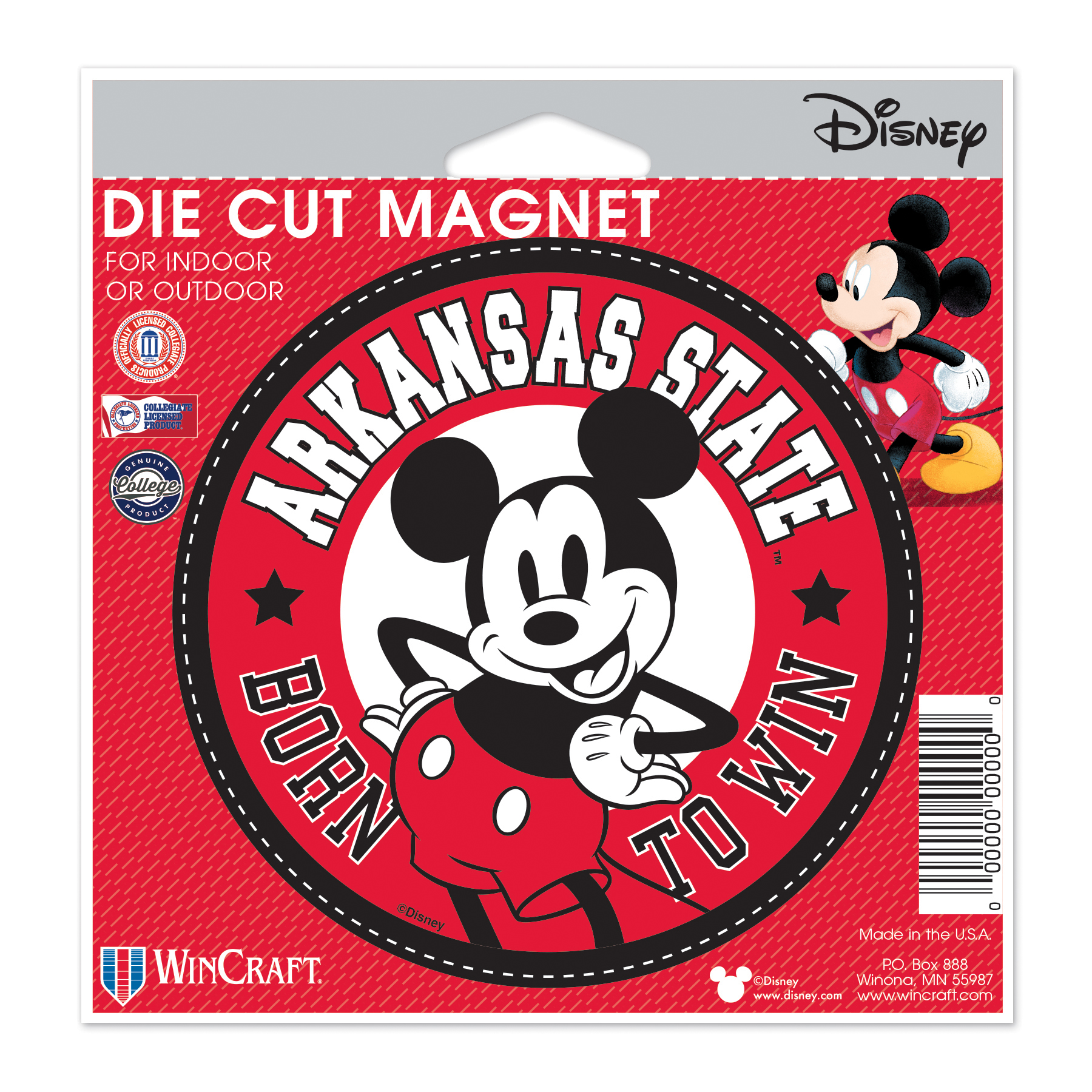 "A-State & Mickey Born To Win 4"" Die Cut Magnet"