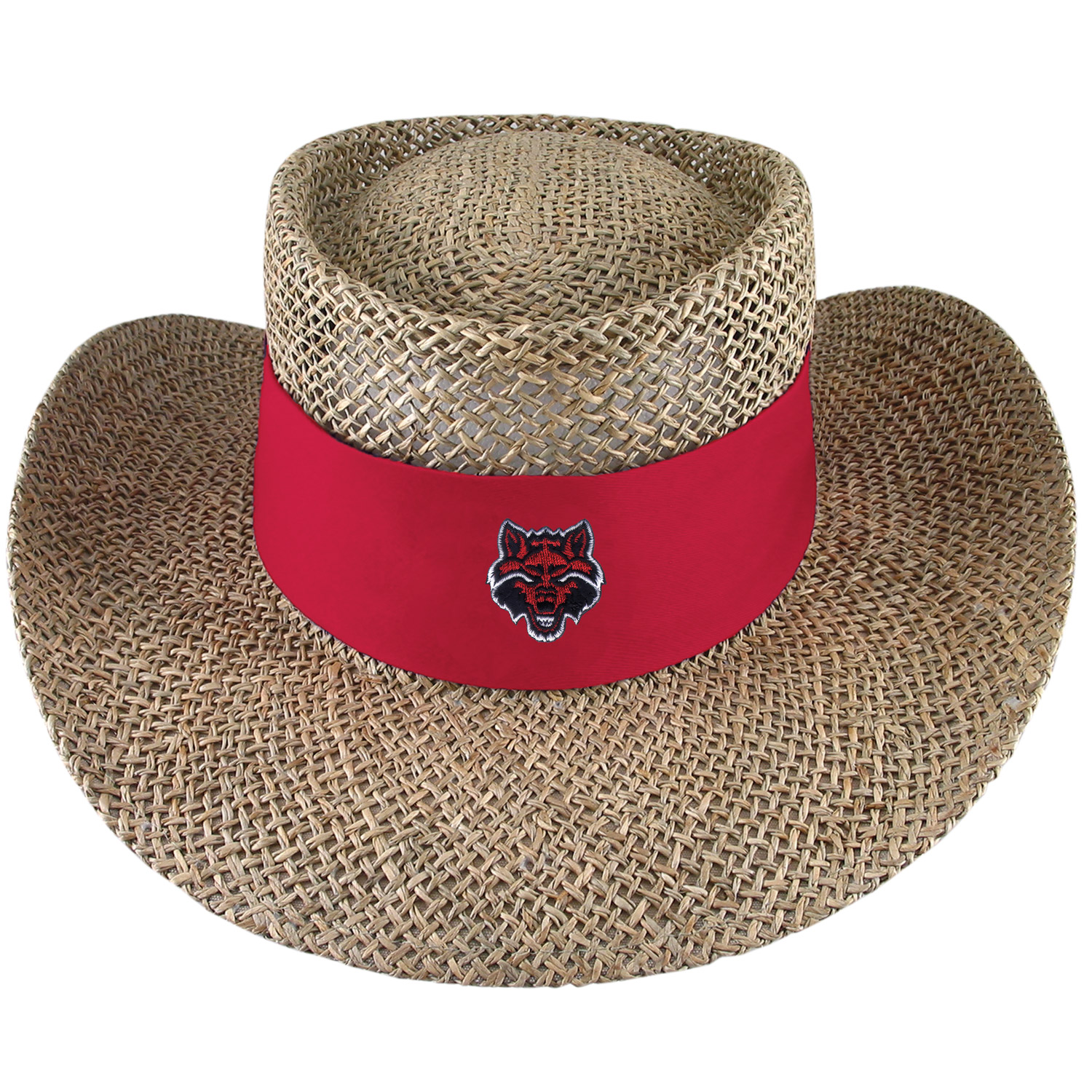 Red Wolves Tournament Straw Gambler Hat